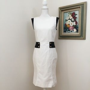 Lafayette 148 Black and White Fitted Career Dress